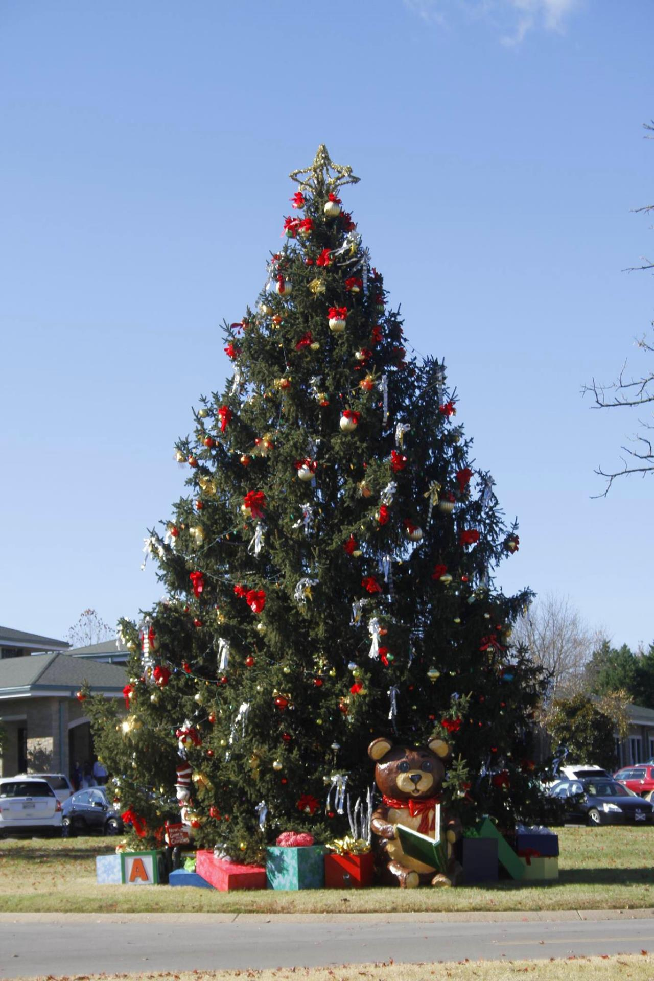 daytime image of decorated christmas tree