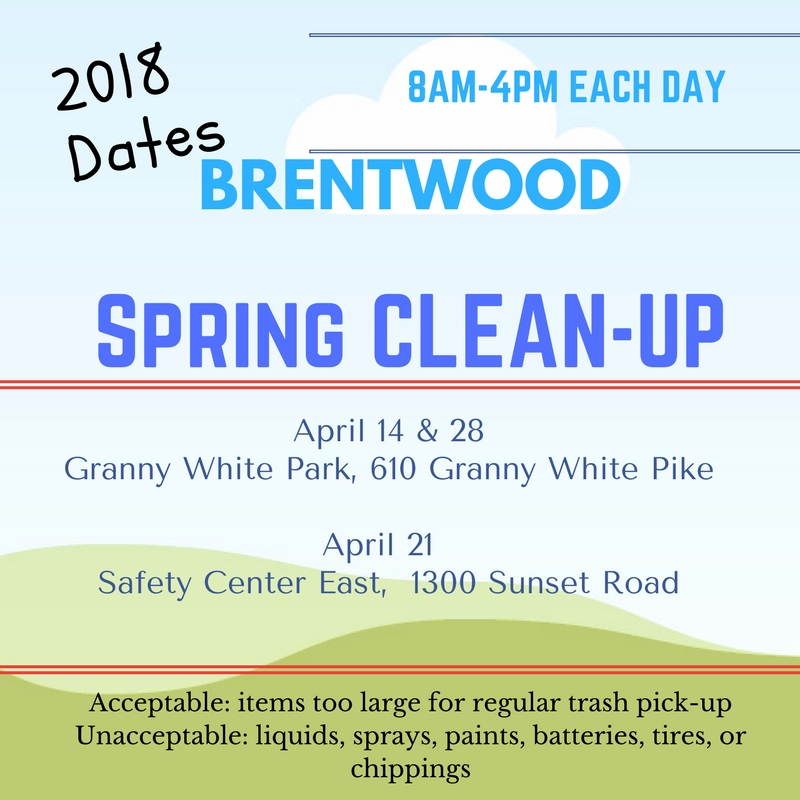 Spring Clean Up 2018 dates