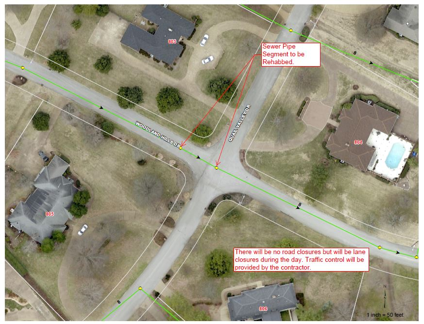 Woodland Hills Rd lane closures