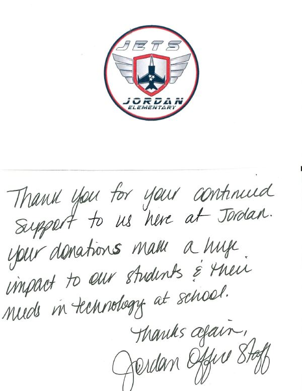 Jordan Elementary thank you note
