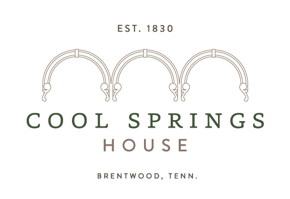 Words Cool Springs House with arches above. Words Brentwood Tennessee Established 1830 underneath