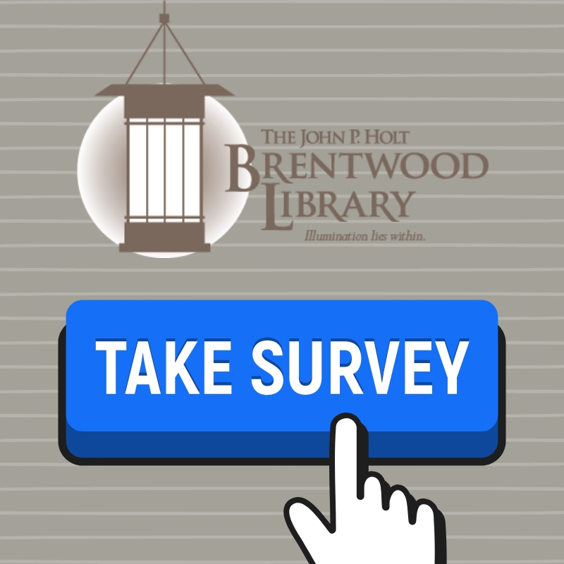 graphic of library logo and take survey icon