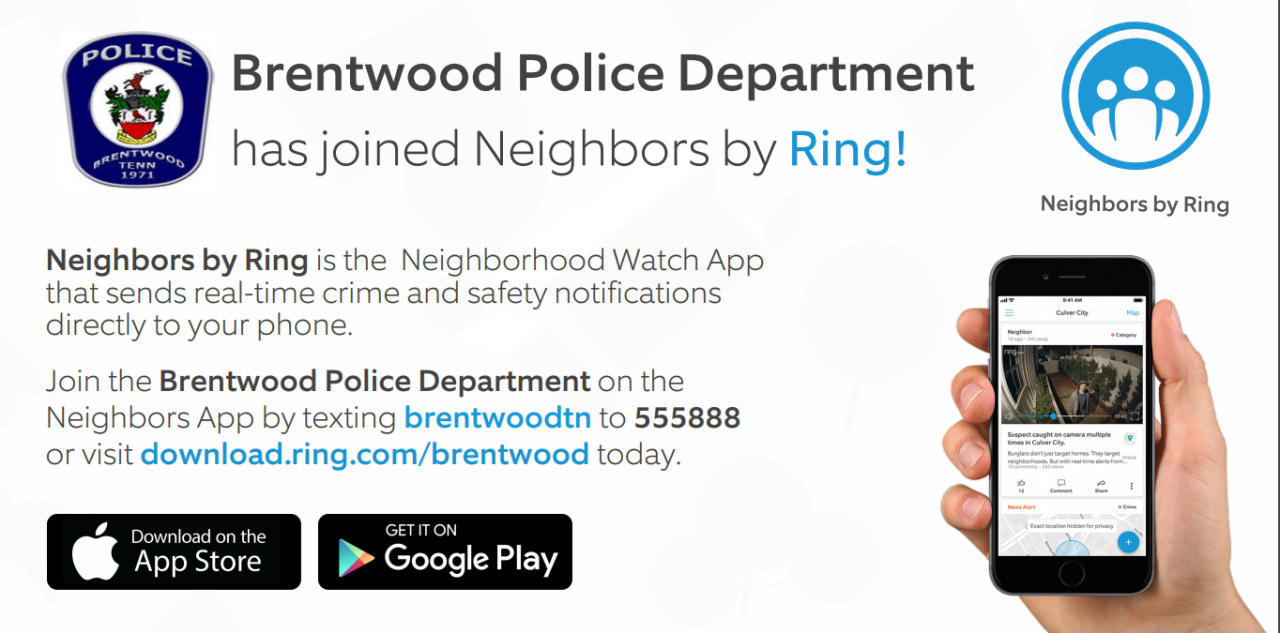 words and images to describe how to sign up for Ring and BPD alerts