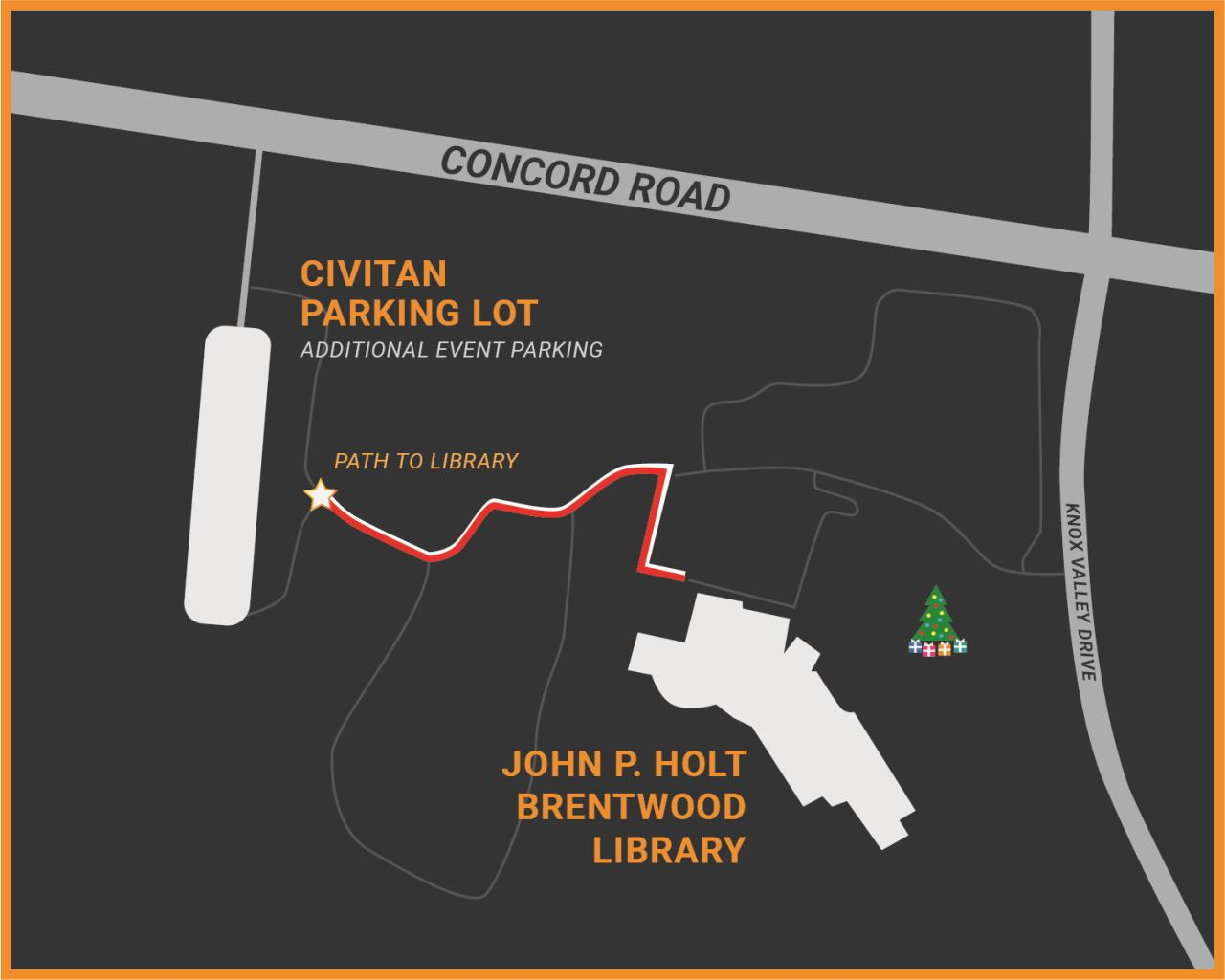 map showing parking locations for holiday event