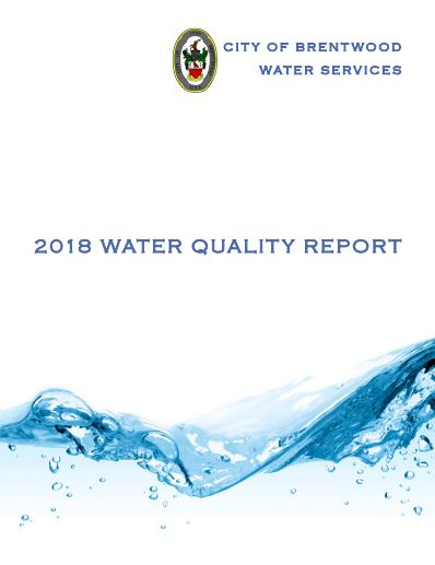 photo of the front page of the 2018 Brentwood Water Quality Report